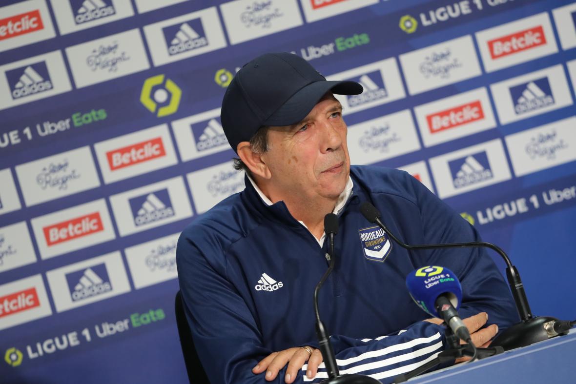 Jean-Louis Gasset en conférence d'après-match face à Brest
