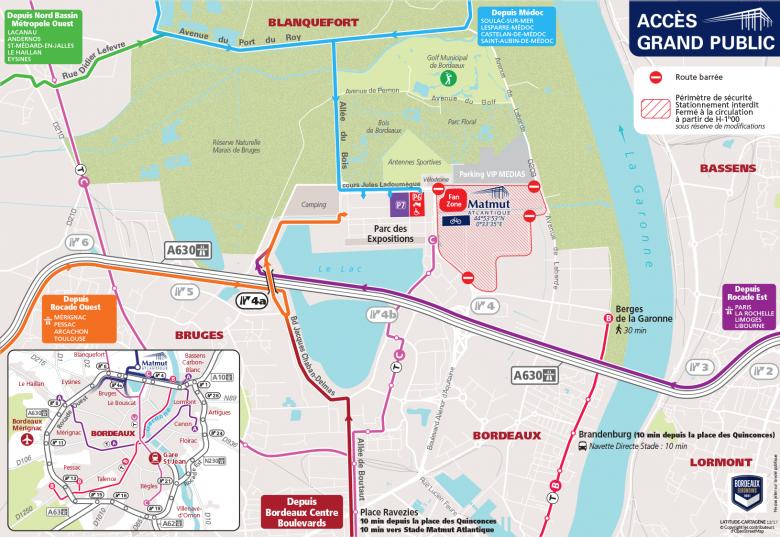 Le plan d'accès au Matmut ATLANTIQUE