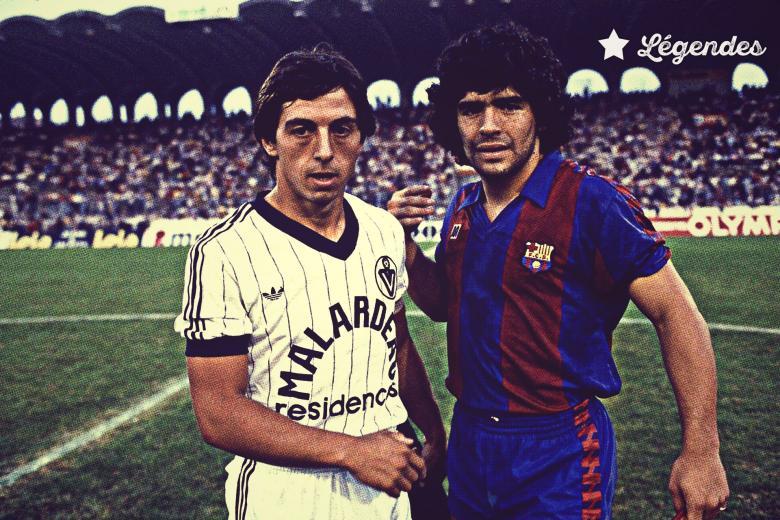 Diego Armando Maradona avec Barcelone face aux Girondins d'Alain Giresse